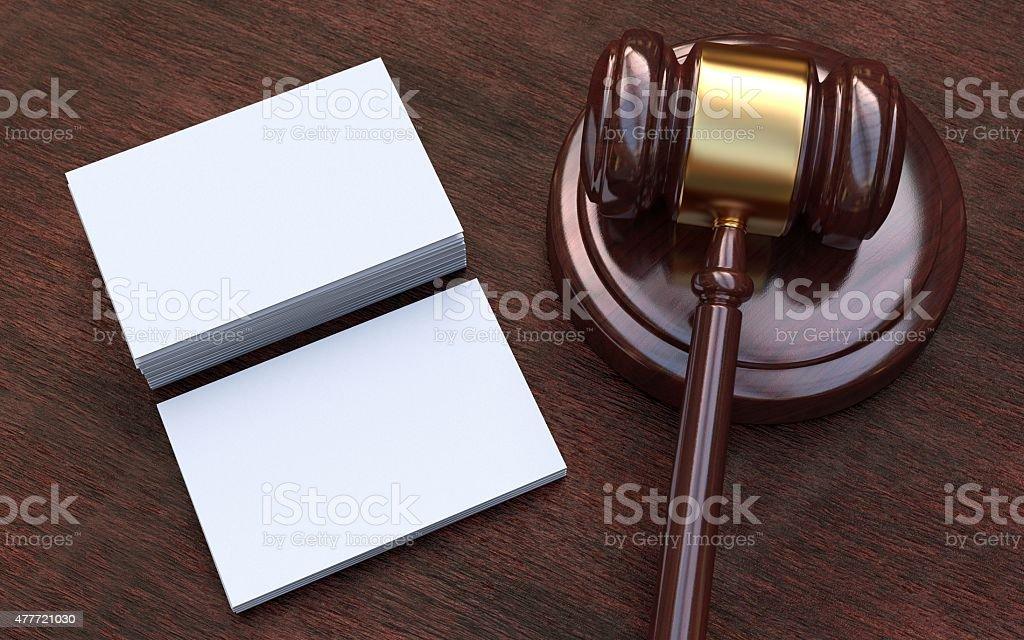 Judge gavel, white, blank business cards stock photo
