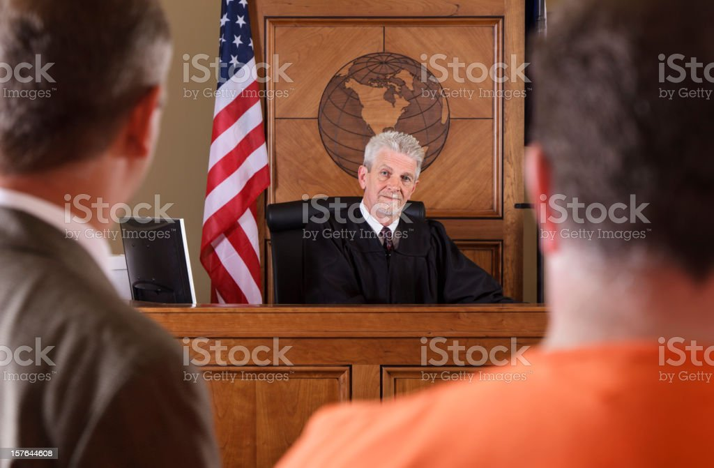 Judge in a Courtroom stock photo