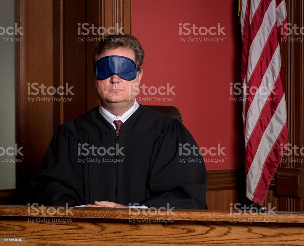 Judge in Blindfold stock photo