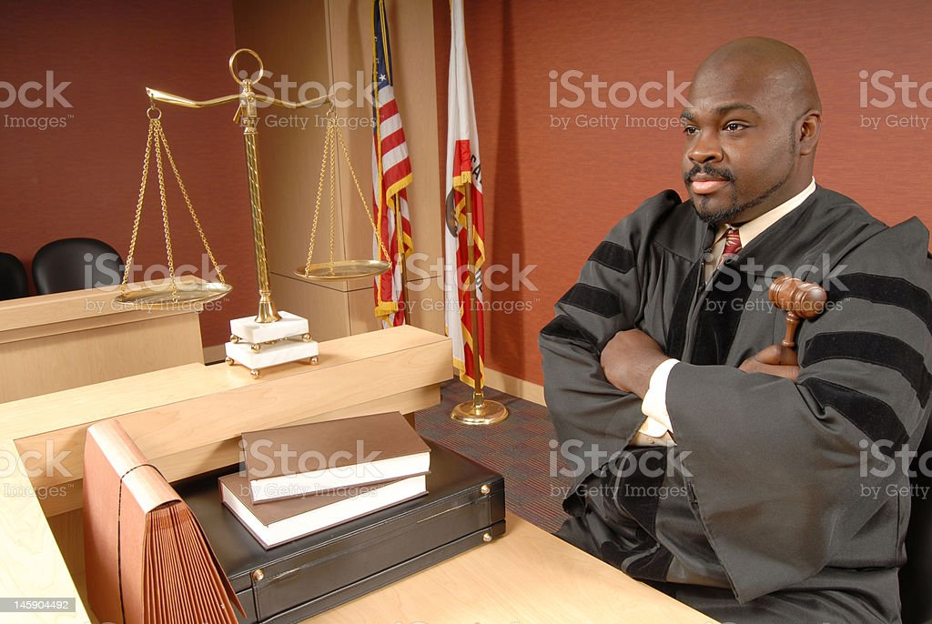 Judge in his courtroom royalty-free stock photo