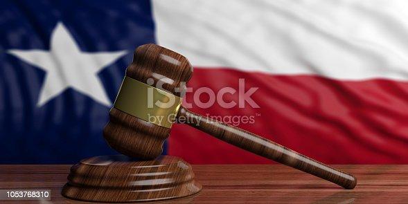 istock Judge or auction gavel on Texas US America flag background. 3d illustration 1053768310