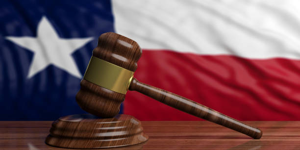 Judge or auction gavel on Texas US America flag background. 3d illustration Judge or auction gavel on Texas US of America waving flag background. 3d illustration texas stock pictures, royalty-free photos & images