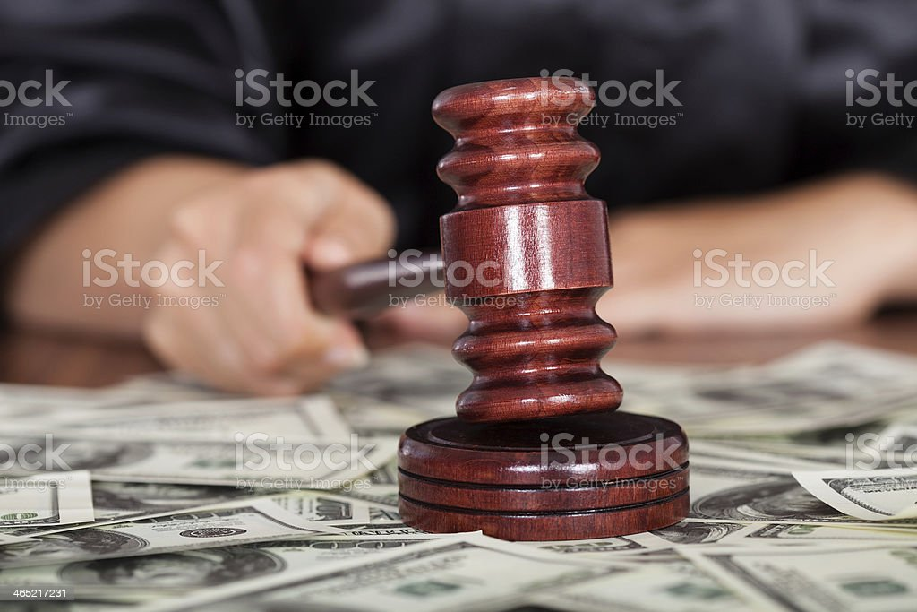 Judge Striking The Gavel stock photo