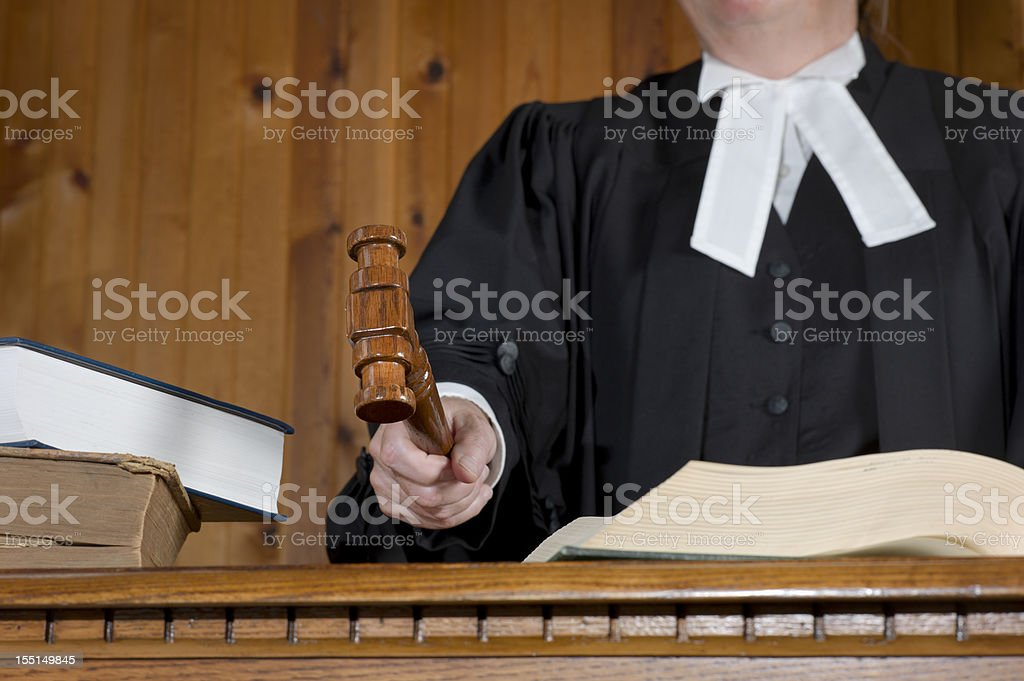 Judge Using the Gavel. royalty-free stock photo