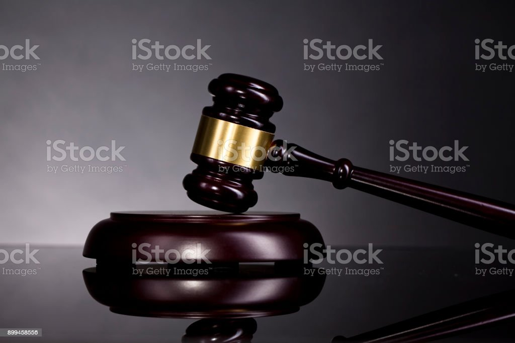 Judge's Gavel and scales of justice. Law concept stock photo