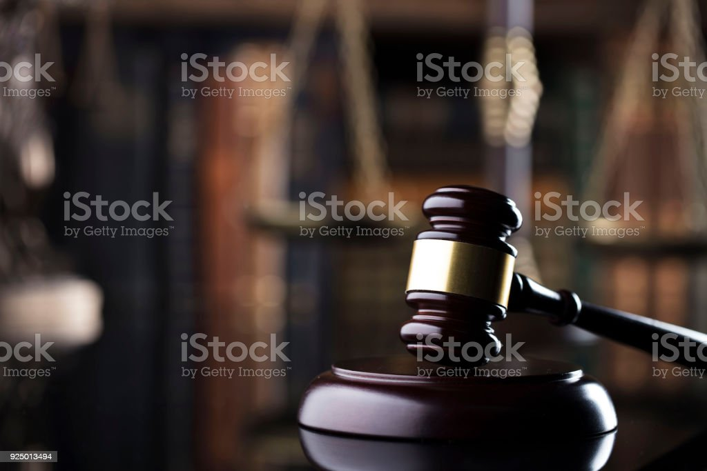 Judge's gavel. justice concept. stock photo