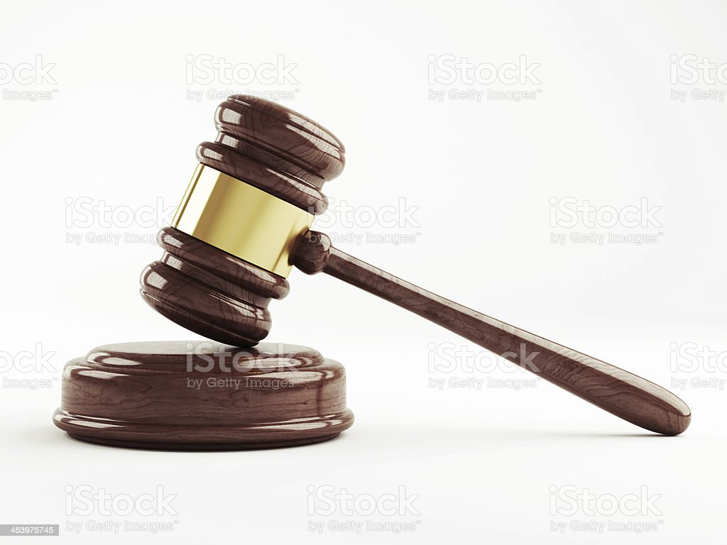 Judges gavel on a white background stock photo
