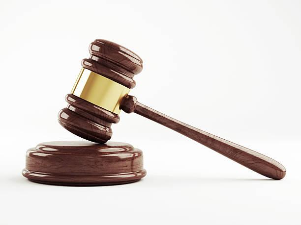 Judges gavel on a white background