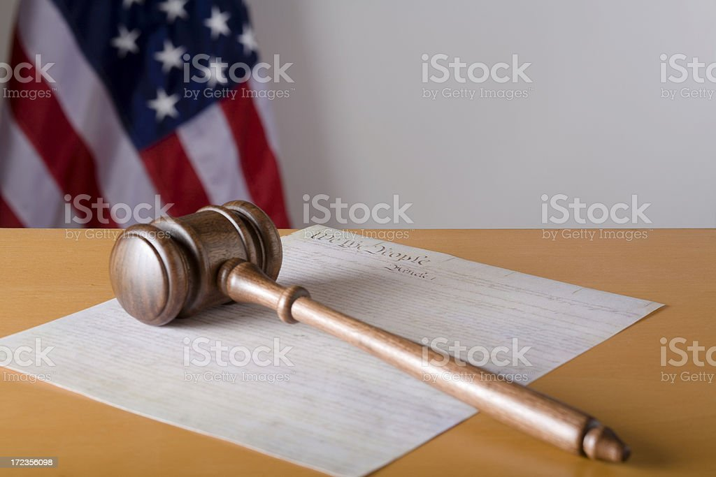 Judge's gavel on US constitution Preamble royalty-free stock photo