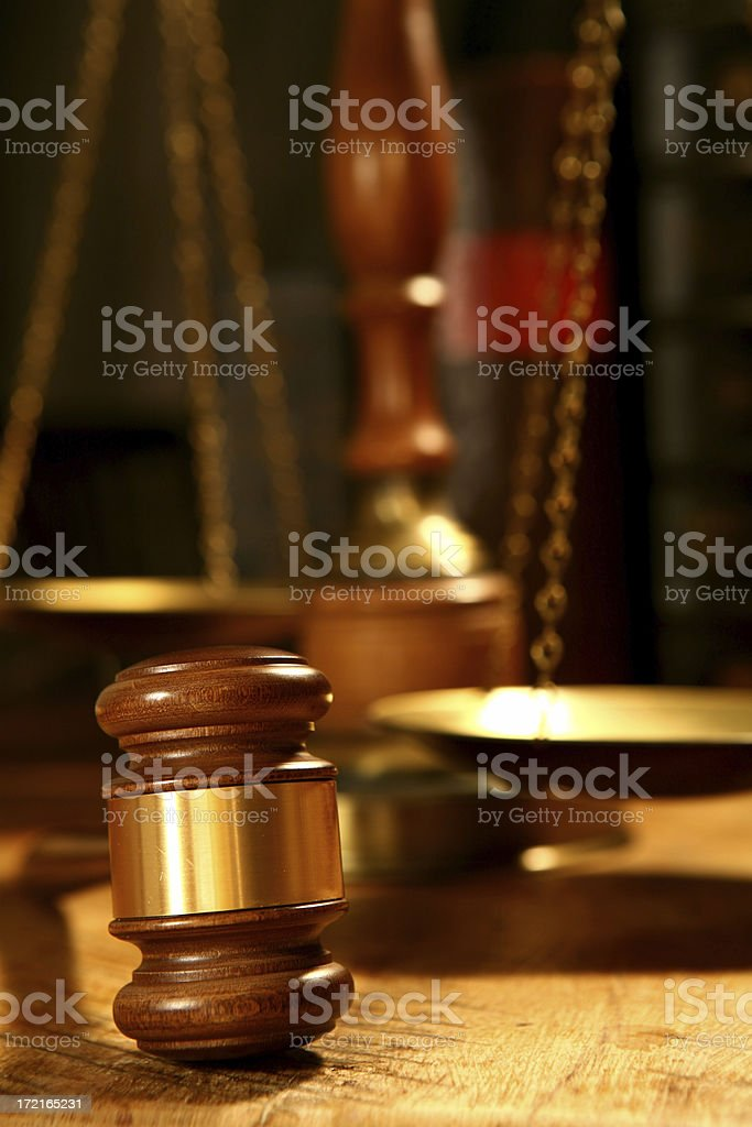 Judges Gavel & Scales royalty-free stock photo