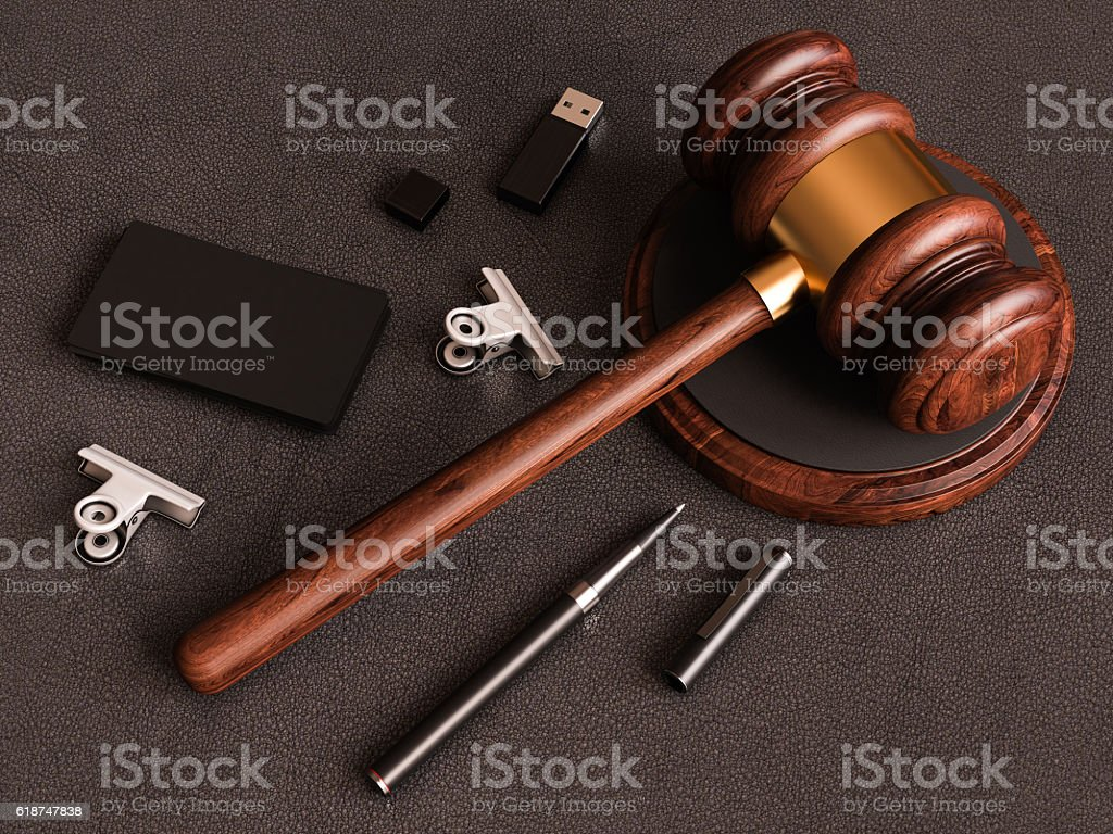 Judges Gavel Smartphone Business Card On Leather Substrate 3d ...