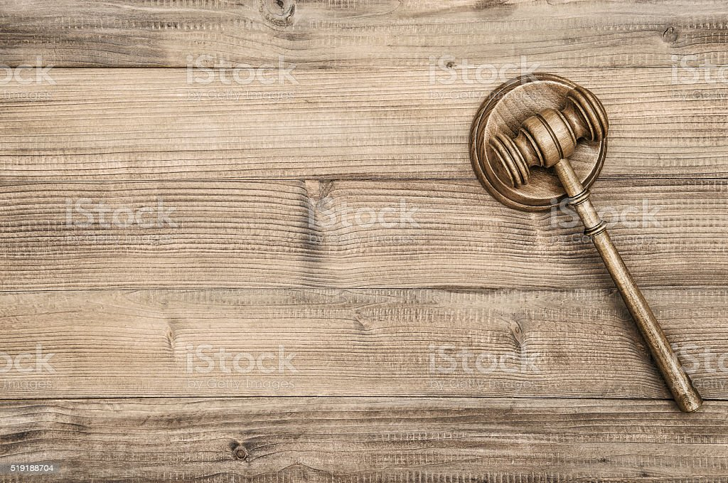 Judges Gavel with Soundboard. Auctioneer hammer stock photo
