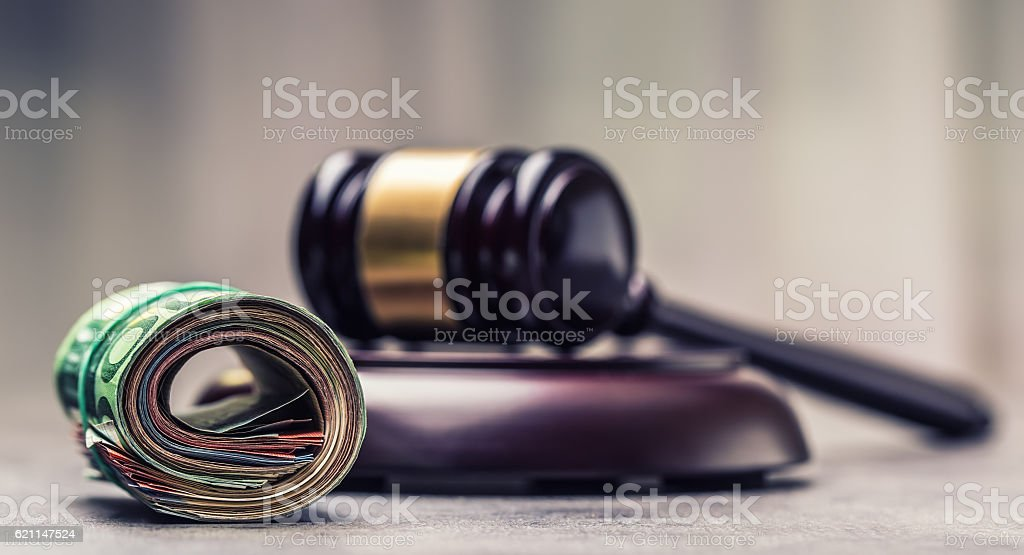Judge's hammer gavel. Justice and euro money. stock photo