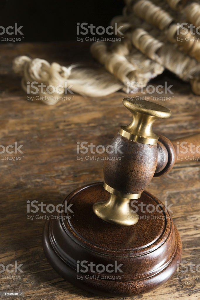 Judge's wig and hammer royalty-free stock photo