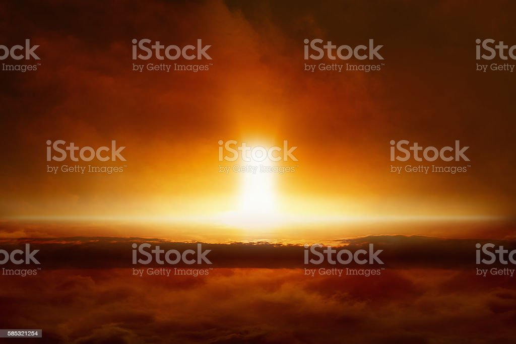 Judgment day comes, end of world, entrance to hell stock photo