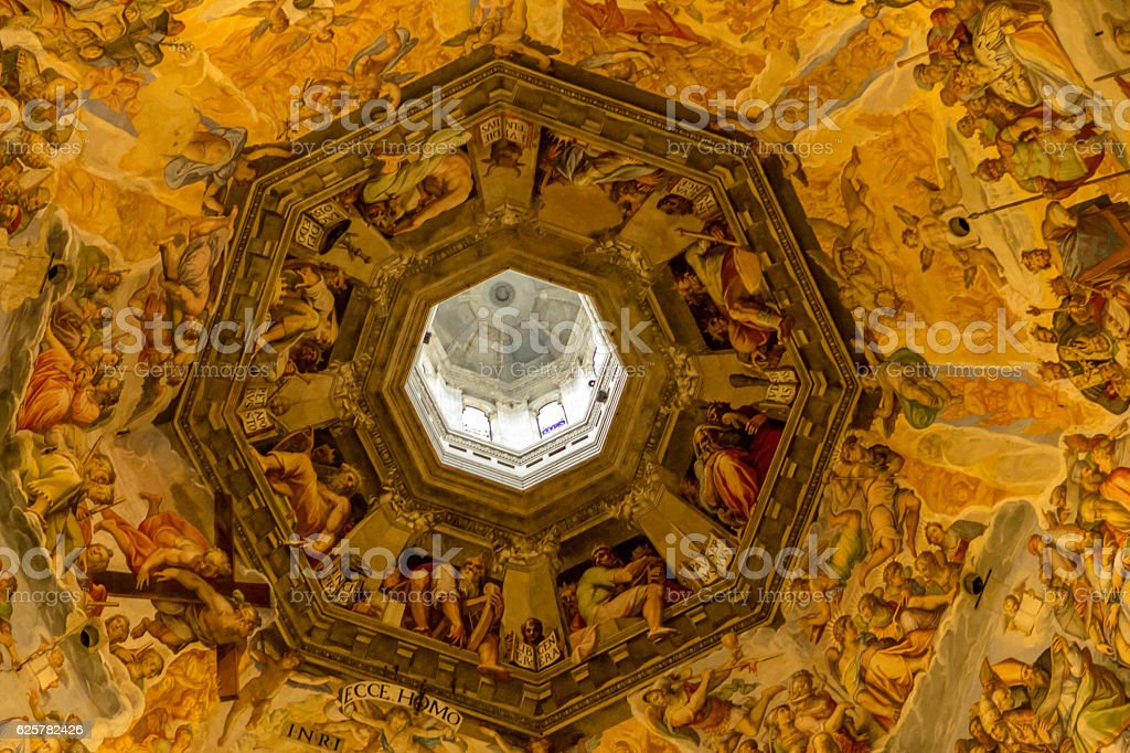 Judgment Day on ceiling of Santa Maria del Fiore, Florence stock photo
