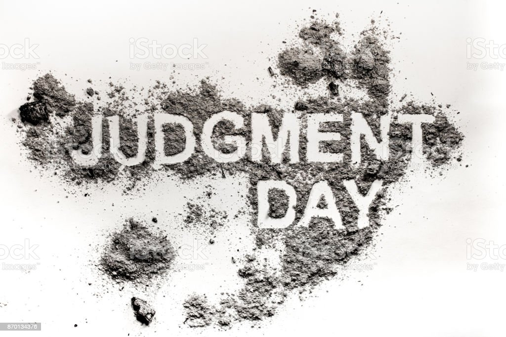 Judgment day word as apocalypse, catastrophe or cataclysm concept stock photo