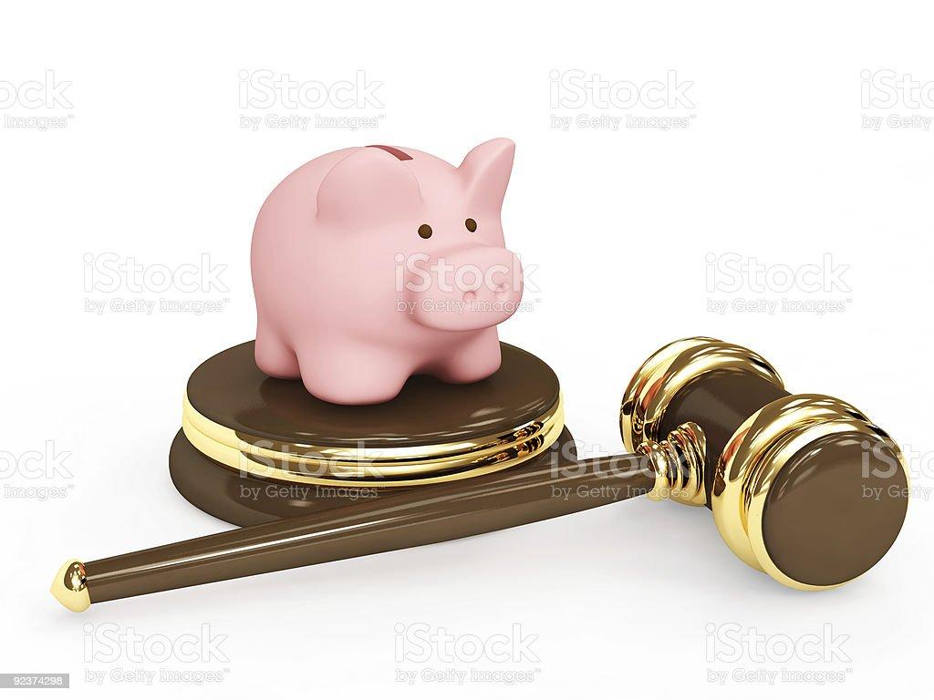 Judicial 3d gavel and piggy bank royalty-free stock photo