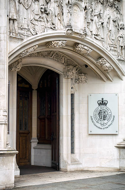 Judicial Committee of The Privy Council doorway, London stock photo