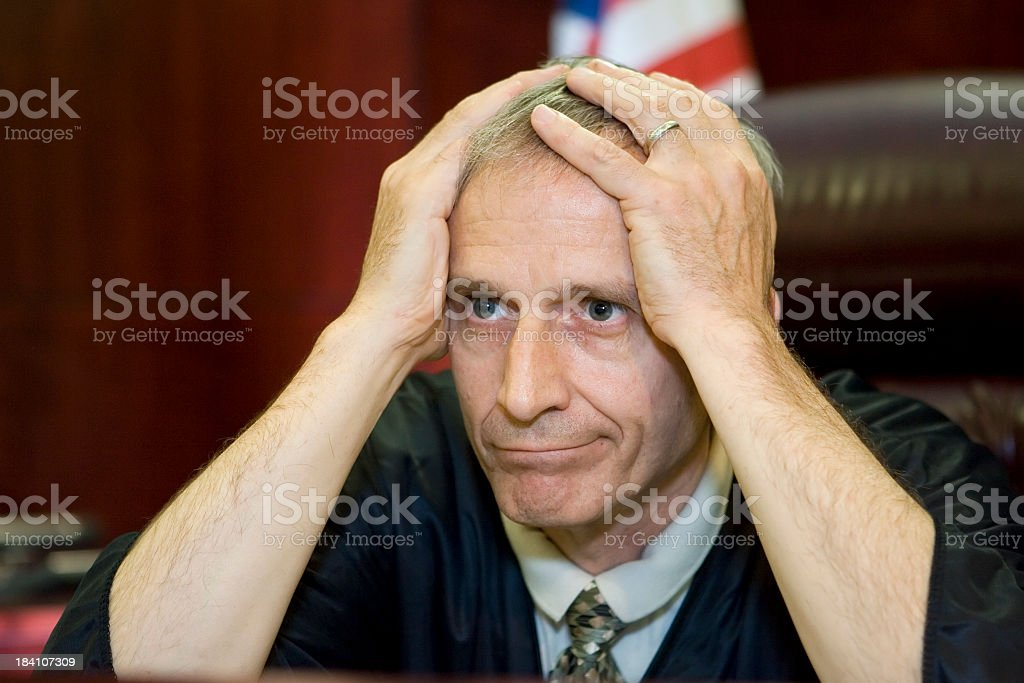 US Judicial System-exasperated judge royalty-free stock photo