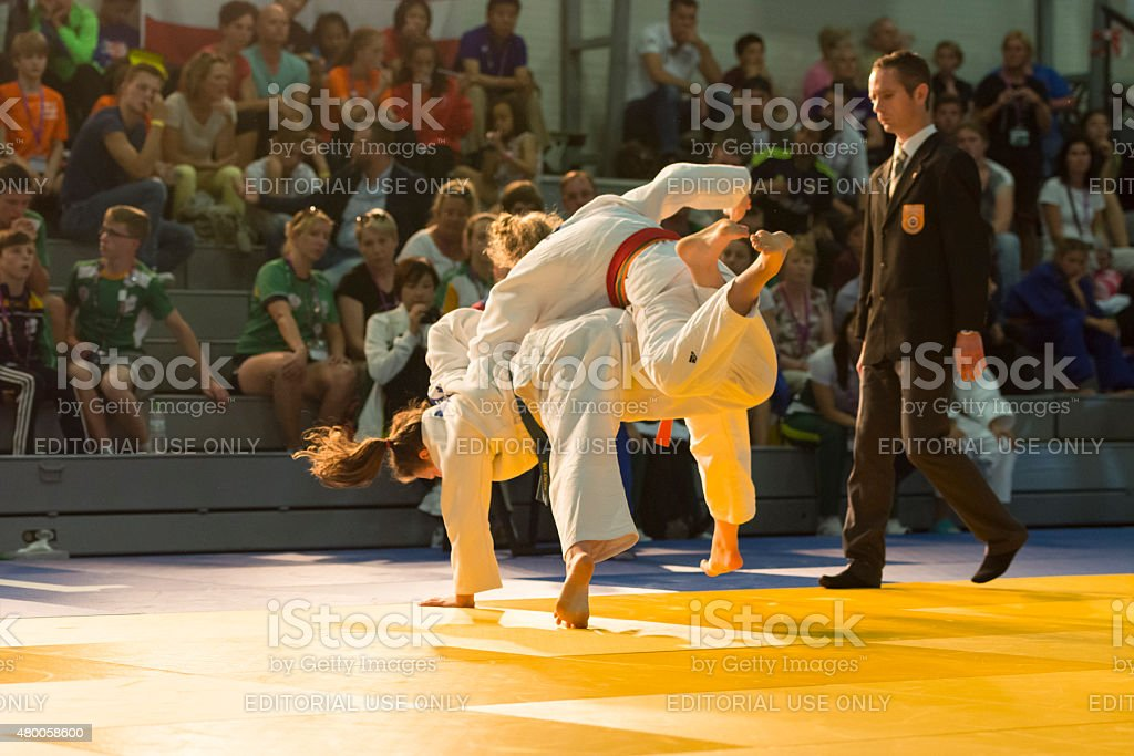 Judo competition during International Children Games 2015 stock photo