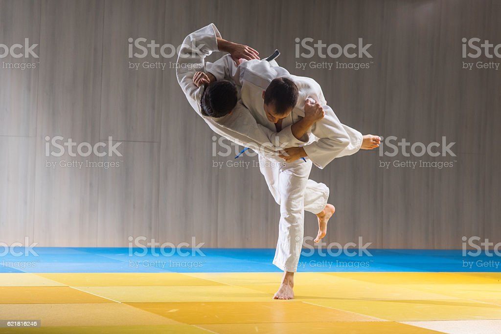 Judo training in the sports hall stock photo