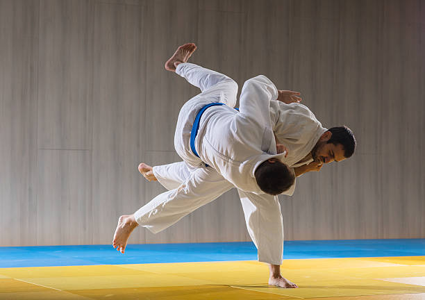 Judo training in the sports hall - foto de stock