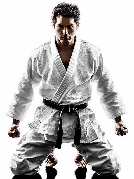 judoka fighter mann silhouette - asiatischer kampfsport stock-fotos und bilder