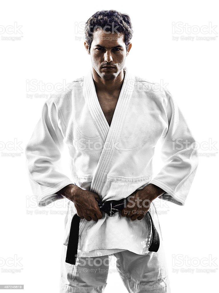 judoka fighter man silhouette stock photo