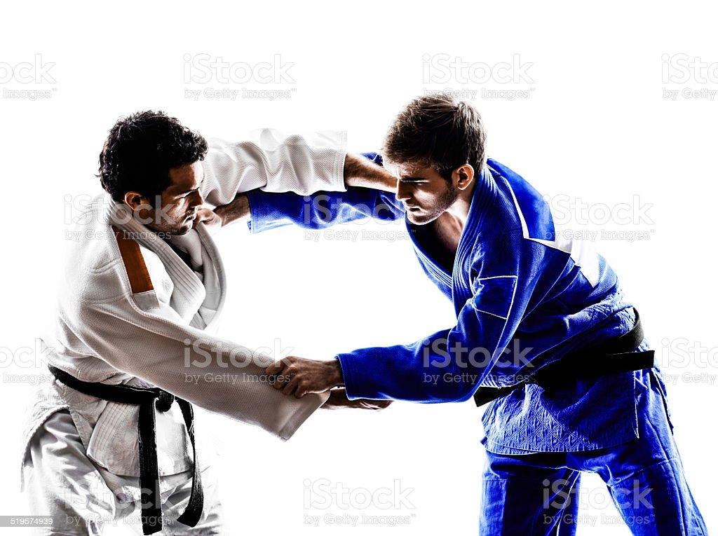 judokas fighters fighting men silhouette stock photo