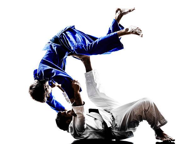 soldados luchando judokas siluetas de hombres - artes marciales fotografías e imágenes de stock