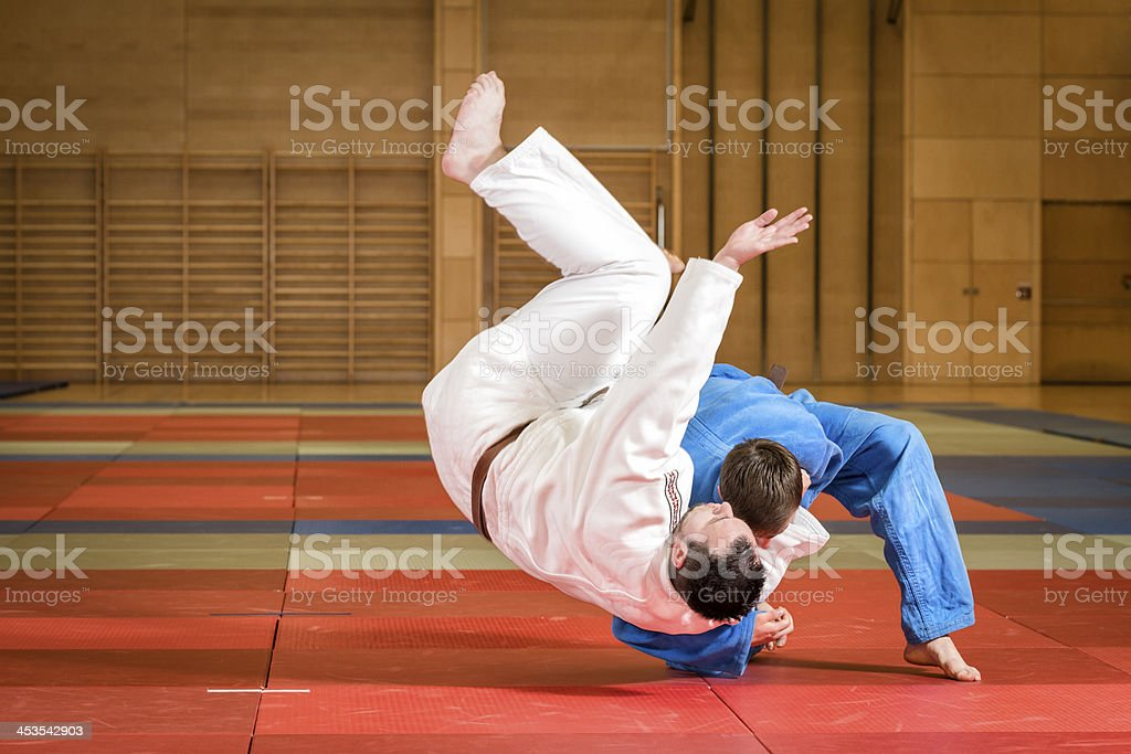 judokas fighting royalty-free stock photo