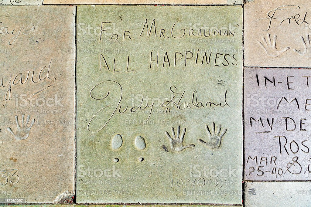 Judy Garlands handprints in Hollywood Boulevard in the concrete stock photo