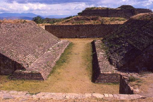 Juego de Pelota or football court at Zapotec ruins of Monte Albán Oaxaca Mexico