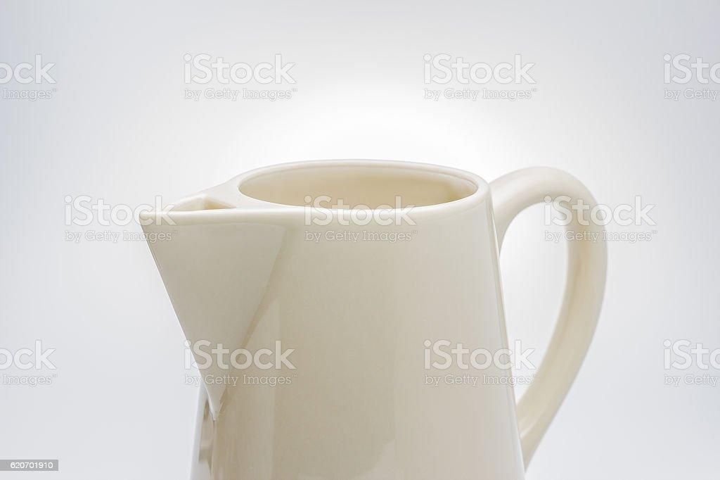 Jug, ceramic jug on white background. stock photo