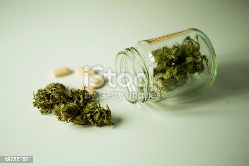 Jug filled with marijuana herb and capsule medicine