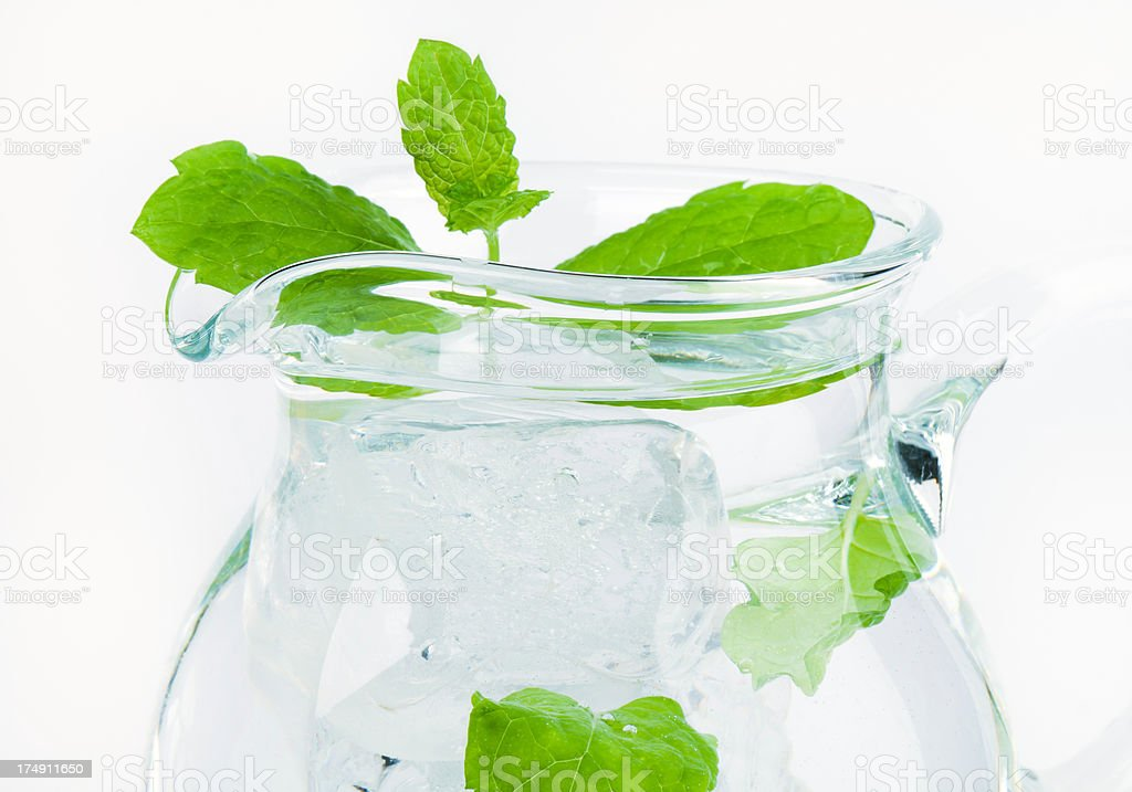 jug of water with a mint royalty-free stock photo