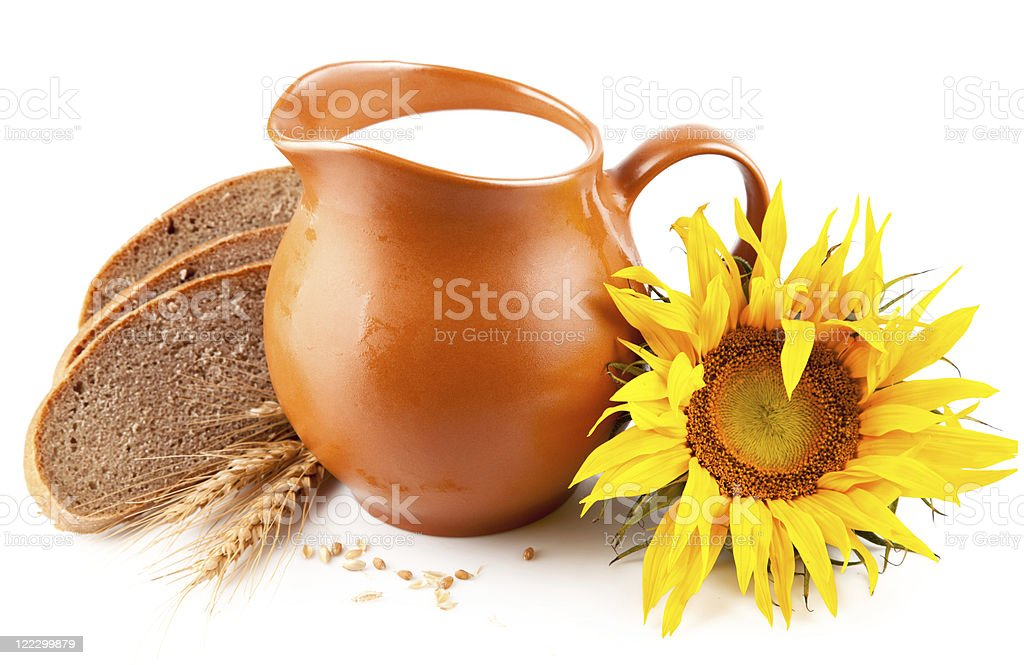 jug with milk and bread royalty-free stock photo