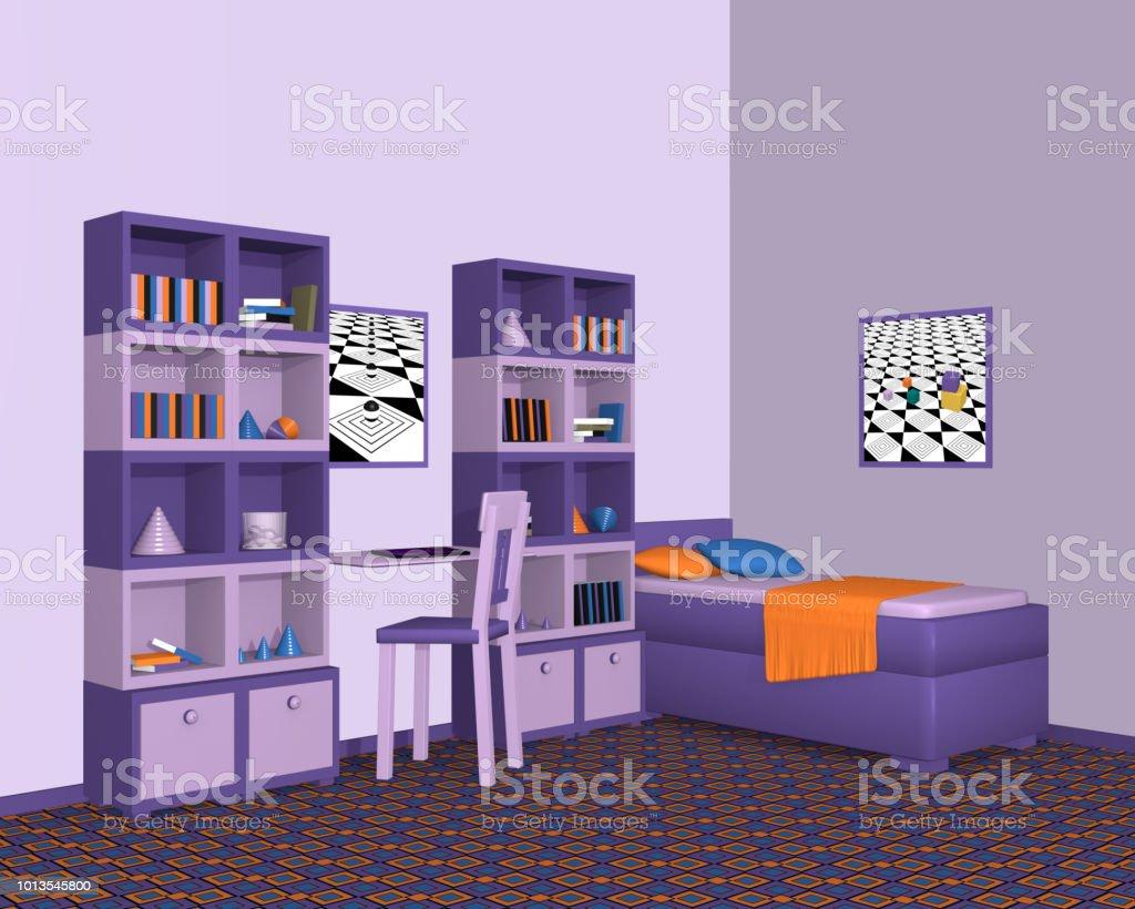 Jugendzimmer In Violetten Farbtonen Mit Schrankwand Und Einzelbett Aus Seitenansicht Stockfoto Und Mehr Bilder Von Architektur Istock