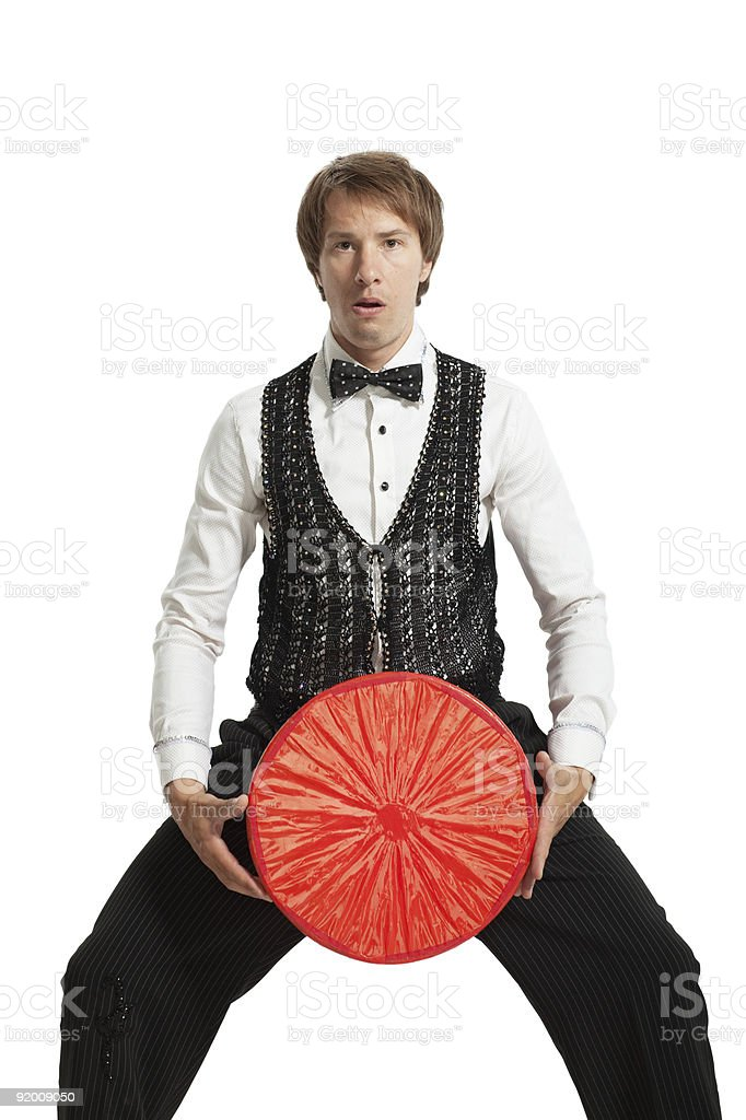 Juggler with his properties. Isolated on white background. royalty-free stock photo