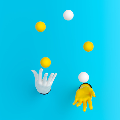 Juggling balls hands out of the wall 3d illustration