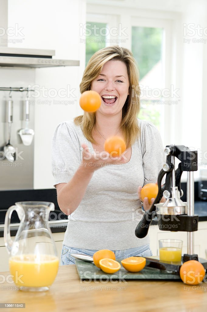 Juggling Oranges royalty-free stock photo