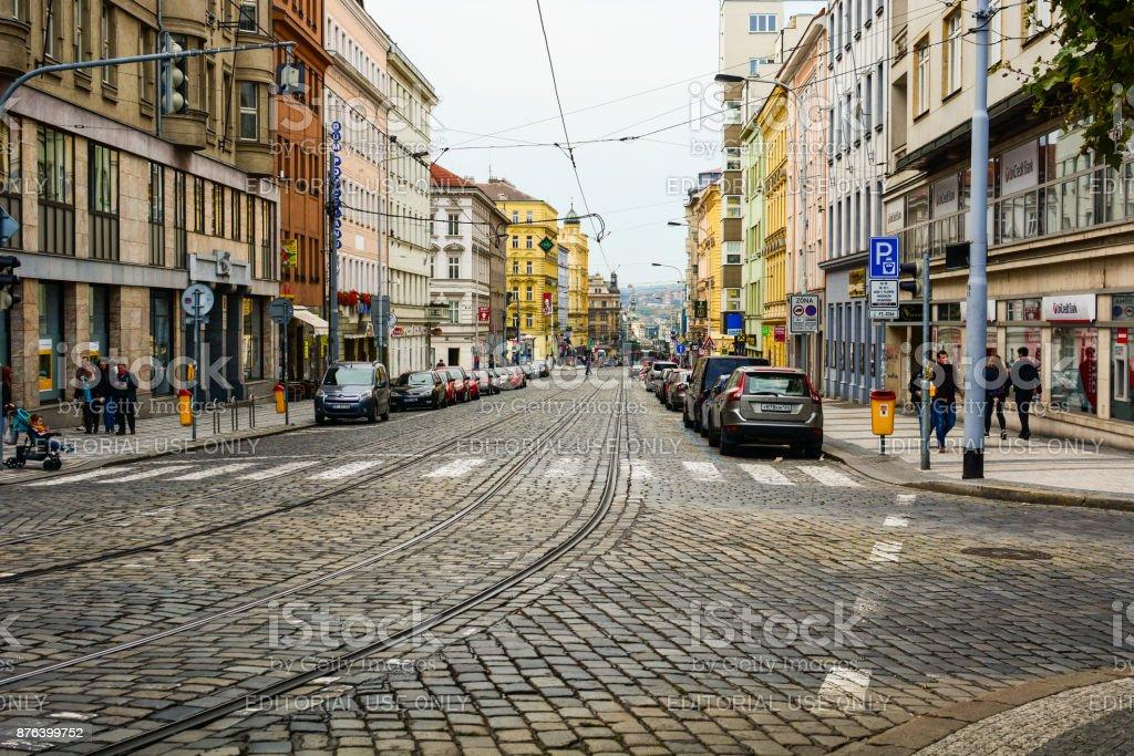 Jugoslavska stree in Prague stock photo