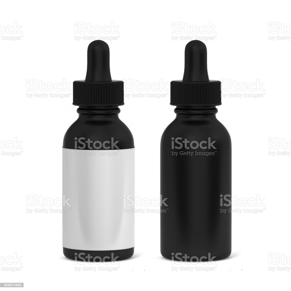 E juice and beard oil dropper bottle mock up 3d rendering isolated on white background. stock photo