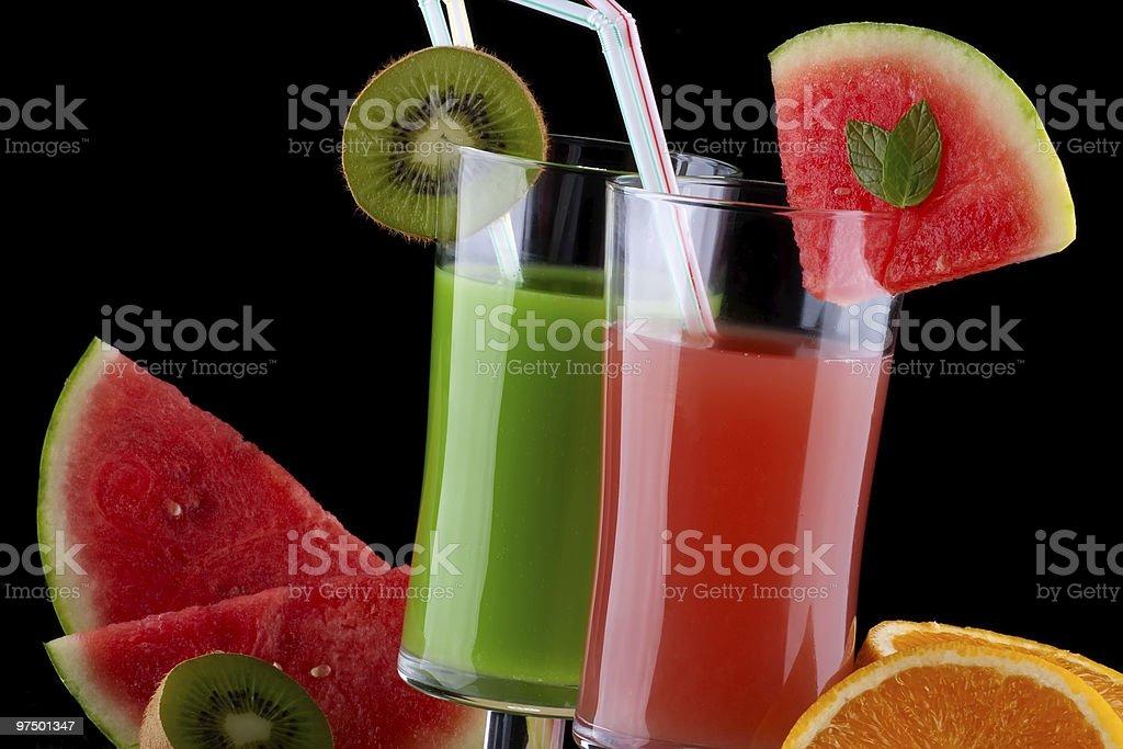 Juice and fresh fruits - organic, health drinks series royalty-free stock photo