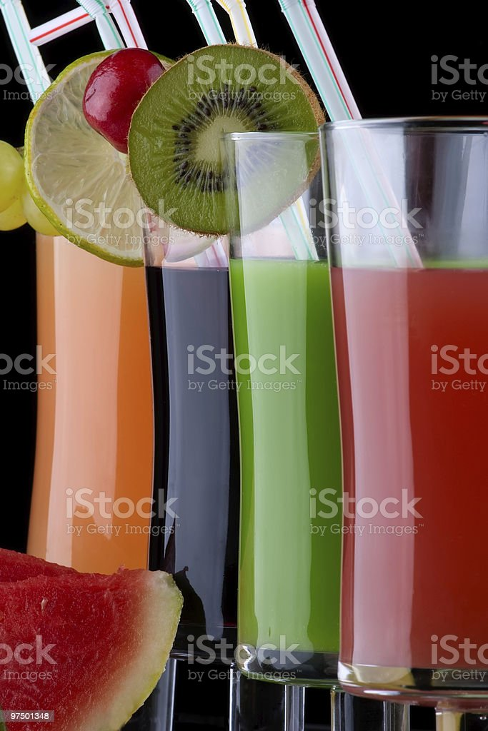 Juice and fresh fruits - organic, health drinks series royalty-free stock photo