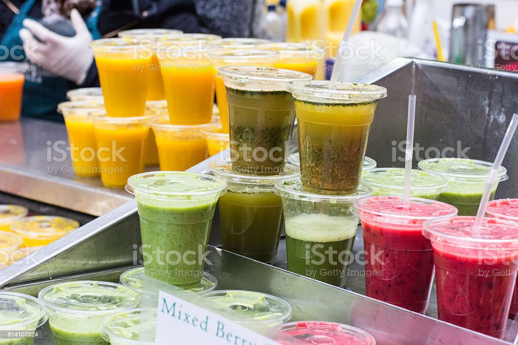 Juice Bar in Borough Market, London stock photo