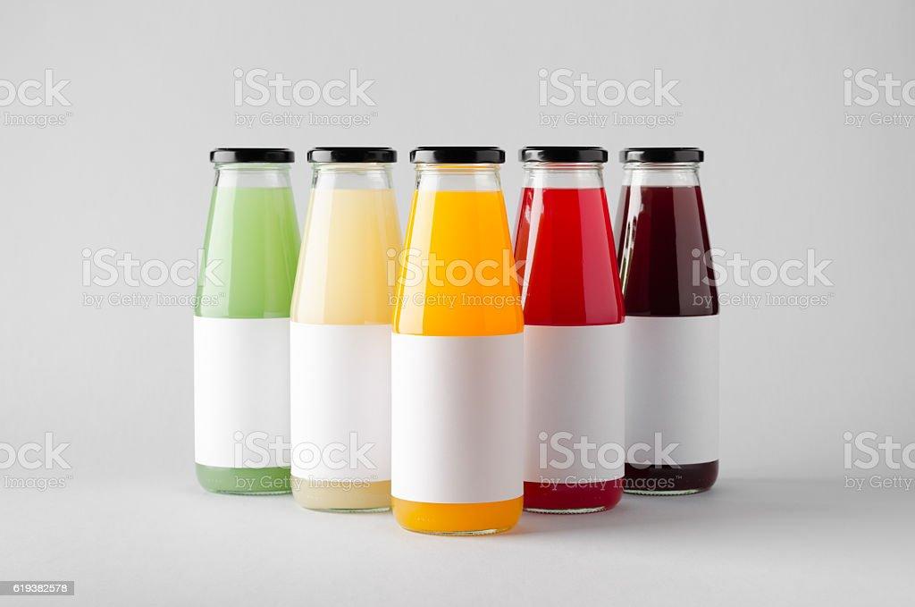 Juice Bottle Mock-Up - Multiple Bottles. Blank Label stock photo