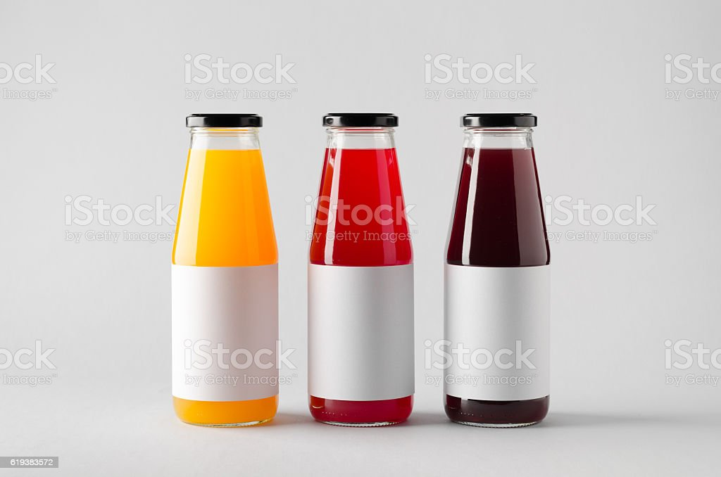 Juice Bottle Mock-Up - Three Bottles. Blank Label