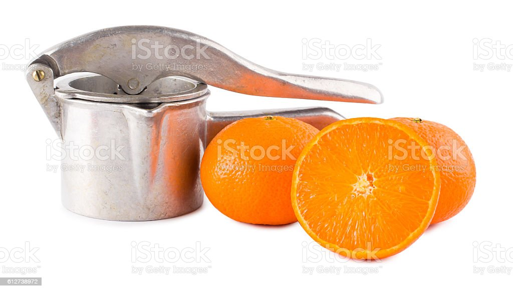 Juice extractor manual and oranges stock photo